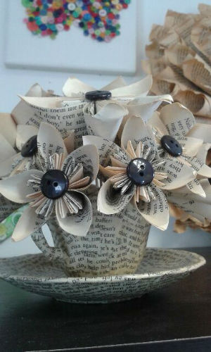 May 2016 market harborough wi paper flowers made from pages of a book and buttons w500 h500 mightylinksfo