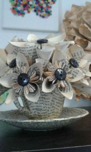 paper flowers made from pages of a book and buttons-w500-h500