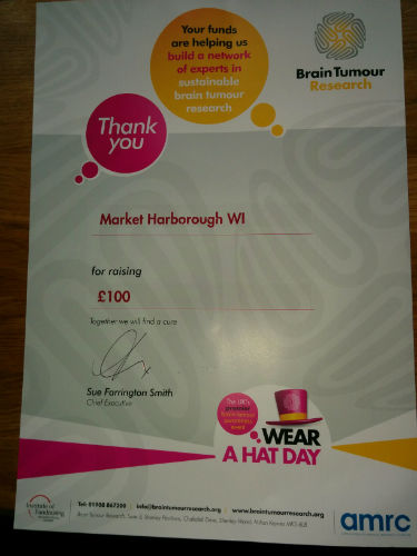 Thank you certificate for £100 donation to Wear a Hat Day, March 2016
