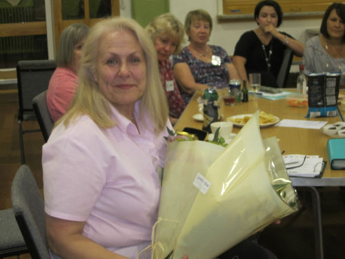 Patsy Tracey, outoing Membership Secretary for the past 5 years, with her thank you flowers