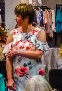 Fashion Show -flowery off the shoulder dress